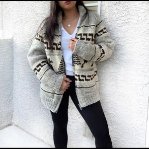 TUAK Handmade Wool Cowichan Design Sweater Jacket